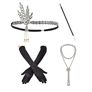 cheap Historical & Vintage Costumes-Headbands Pearl Necklace Outfits 1920s Alloy For The Great Gatsby Cosplay Women's Costume Jewelry Fashion Jewelry / Gloves / Cigarette Stick / Gloves / Cigarette Stick