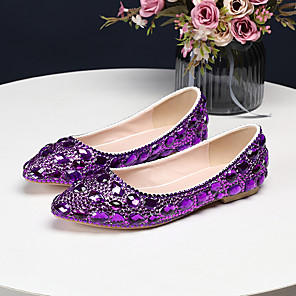 cheap Wedding Shoes-Women's Wedding Shoes Flat Heel Pointed Toe Crystal / Sparkling Glitter PU(Polyurethane) Vintage / Sweet Spring &  Fall / Spring & Summer Green / Purple / Red / Party & Evening