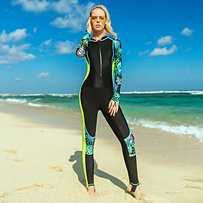 cheap Wetsuits, Diving Suits & Rash Guard Shirts-SBART Women's Rash Guard Dive Skin Suit Nylon Diving Suit UV Sun Protection Breathable Quick Dry Full Body Front Zip - Swimming Surfing Snorkeling Leaves Print Spring, Fall, Winter, Summer / Stretchy