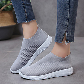 cheap Women's Boots-Women's Loafers & Slip-Ons Flat Heel Round Toe Elastic Fabric Spring &  Fall Black / Blue / Pink