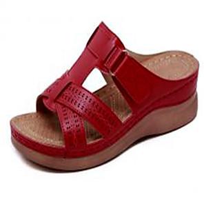 cheap Women's Sandals-Women's Sandals Wedge Sandals Plus Size Wedge Heel Daily PU Summer Dark Red / Red / Blue