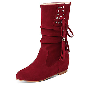 cheap Women's Boots-Women's Boots Flat Heel Round Toe Rivet / Tassel Suede Mid-Calf Boots Casual Fall / Winter Black / Brown / Dark Red