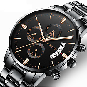 cheap Quartz Watches-Men's Dress Watch Quartz Formal Style Stylish Stainless Steel Black / Silver 30 m Calendar / date / day Analog Luxury Fashion - Black Black / White Silver One Year Battery Life