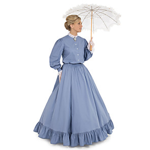 cheap Historical & Vintage Costumes-Duchess Victorian 1910s Edwardian Dress Party Costume Women's Feather Costume Blue Vintage Cosplay Daily Wear Long Sleeve Floor Length Ball Gown Plus Size / Blouses / Blouses