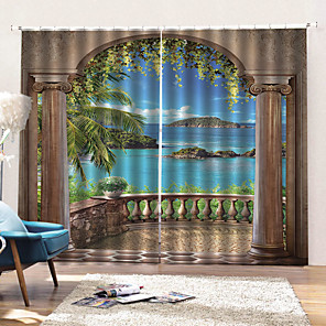 cheap Curtains & Drapes-European Home Decor Waterproof Mouldproof 100% Polyester Bath Curtain Sound Insulation Blackout Window Curtains
