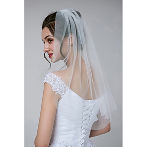 cheap Wedding Veils-One-tier Classical / Classic & Timeless Wedding Veil Shoulder Veils with Solid Tulle