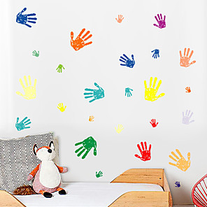 cheap Wall Stickers-Creative Diy Color Palm Print For Children'S Bedroom Kindergarten Living Room And Self-Adhesive Wallpaper Sticker Decorative Wall Stickers - Plane Wall Stickers Shapes / Still Life Kids Room / Nursery