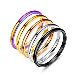 cheap Rings-Women's Band Ring Ring Tail Ring 1pc Silver Rainbow Rose Gold Stainless Steel Titanium Steel Circular Basic Fashion Gift Daily Jewelry Lovely