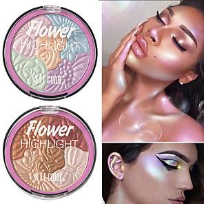 cheap Eyeshadows-5 Colors Flowers High-Gloss Powder Repair Capacity Powder Lasting Waterproof Brightening Complexion Copy Powder High-Gloss Cosmetics