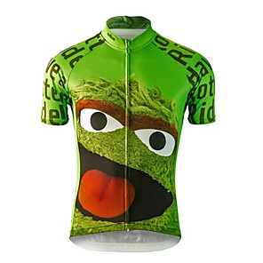 cheap Cycling Jerseys-21Grams Novelty Men's Short Sleeve Cycling Jersey - Green Bike Jersey Top Breathable Quick Dry Moisture Wicking Sports Terylene Mountain Bike MTB Road Bike Cycling Clothing Apparel / Micro-elastic