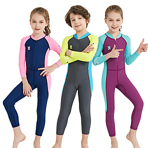 cheap Wetsuits, Diving Suits & Rash Guard Shirts-Dive&Sail Girls' Rash Guard Dive Skin Suit Spandex Diving Suit UV Sun Protection Breathable Quick Dry Full Body Front Zip - Swimming Diving Watersports Patchwork Spring, Fall, Winter, Summer / Kid's