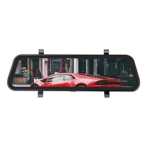 cheap Car DVR-ZIQIAO H19 1296P Streaming Media Rear view Mirror Dash Cam Registrar Video Recorder 9.66 Inch IPS Night Vision Reversing Image car DVR Camera