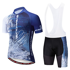 cheap Cycling Jersey & Shorts / Pants Sets-EVERVOLVE Men's Short Sleeve Cycling Jersey with Bib Shorts White Black Bike Clothing Suit Breathable Moisture Wicking Quick Dry Anatomic Design Sports Cotton Lycra Geometry Mountain Bike MTB Road