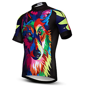 cheap Cycling Jerseys-21Grams Rainbow Wolf Men's Short Sleeve Cycling Jersey - Camouflage Bike Jersey Top Breathable Moisture Wicking Quick Dry Sports Polyester Elastane Terylene Mountain Bike MTB Road Bike Cycling