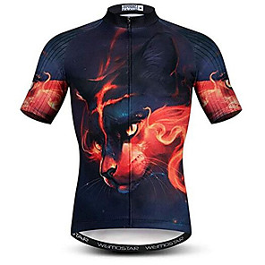 cheap Cycling Jersey & Shorts / Pants Sets-21Grams 3D Cat Animal Men's Short Sleeve Cycling Jersey - Black / Red Bike Jersey Top Breathable Moisture Wicking Quick Dry Sports Polyester Elastane Terylene Mountain Bike MTB Road Bike Cycling