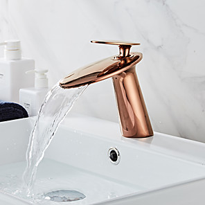 cheap Bathroom Sink Faucets-Faucet Set - Waterfall Rose Gold Centerset Single Handle One HoleBath Taps