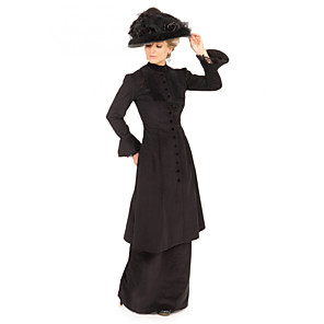 cheap Historical & Vintage Costumes-Duchess Victorian Ball Gown 1910s Edwardian Dress Party Costume Women's Costume Black Vintage Cosplay Masquerade Long Sleeve Floor Length Plus Size / Blouse / Pants / Blouse / Pants