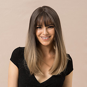 cheap Synthetic Trendy Wigs-Synthetic Wig kinky Straight Natural Straight Bob Neat Bang With Bangs Wig Medium Length Black / Brown Synthetic Hair 20 inch Women's Life Synthetic Ombre Hair Brown HAIR CUBE / Natural Hairline