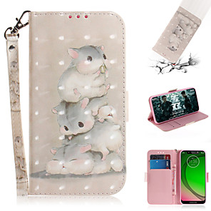 cheap Other Phone Case-Case For Motorola Moto G7 / Moto G7 Plus / Moto G7 Play Wallet / Card Holder / with Stand Full Body Cases Animal / 3D Cartoon PU Leather