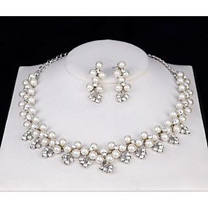 cheap Jewelry Sets-Women's White Crystal Bridal Jewelry Sets Classic Love Artistic Luxury Elegant Imitation Pearl Earrings Jewelry Silver For Wedding Party 1 set