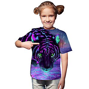 cheap Christmas Decorations-Kids Toddler Girls' Active Basic Tiger Geometric Print 3D Print Short Sleeve Tee Purple / Animal