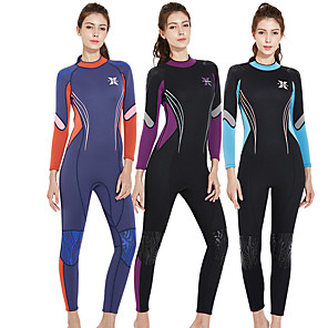 cheap Wetsuits, Diving Suits & Rash Guard Shirts-Dive&Sail Women's Full Wetsuit 3mm SCR Neoprene Diving Suit Thermal / Warm UV Resistant UPF50+ Long Sleeve Back Zip - Diving Water Sports Patchwork / Stretchy