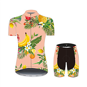cheap Cycling Jersey & Shorts / Pants Sets-21Grams Floral Botanical Fruit Hawaii Women's Short Sleeve Cycling Jersey with Shorts - Pink+Green Bike Clothing Suit Breathable Moisture Wicking Quick Dry Sports 100% Polyester Mountain Bike MTB