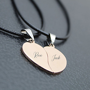 cheap Pendant Necklaces-Personalized Customized Necklace Name Necklace Titanium Steel Classic Name Engraved Love Gift Promise Festival Heart Shape 2 PCS Black Rose Gold Gold / Laser Engraving