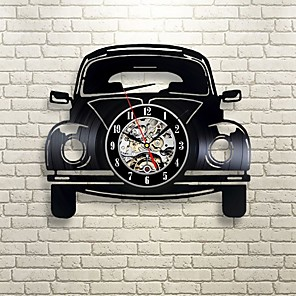 cheap Wall Stickers-Car Retro Vinyl Record Wall Clock - Decorate your home with Modern Art - Gift for kids girls and boys saat