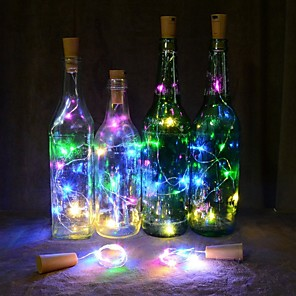cheap Pathway Lights-2M 20 LEDS Wine Bottle Lights Cork Shape Wire Colorful Fairy String Lights NO battery