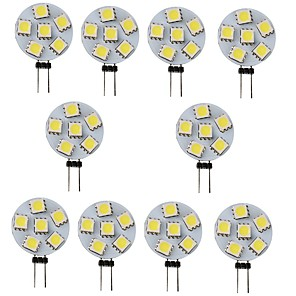 cheap LED Bi-pin Lights-10pcs 1 W LED Bi-pin Lights 120 lm G4 6 LED Beads SMD 5050 White Warm Yellow 12 V