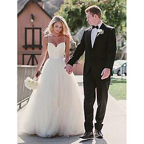 cheap Party Hats-A-Line Wedding Dresses Sweetheart Neckline Sweep / Brush Train Tulle Spaghetti Strap Simple Beach Plus Size with 2020
