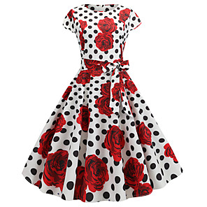 cheap Historical & Vintage Costumes-Audrey Hepburn Country Girl Polka Dots Retro Vintage 1950s Rockabilly Dress Masquerade Women's Costume White+Red Vintage Cosplay School Office Festival Sleeveless Medium Length A-Line