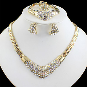 cheap Jewelry Sets-Women's Gold Bridal Jewelry Sets Link / Chain Sweet Heart Vintage Rhinestone Earrings Jewelry Gold / Golden 2 / Golden 3 For Wedding Engagement Gift 1 set