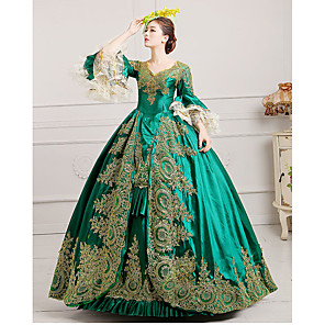 cheap Synthetic Trendy Wigs-Marie Antoinette Rococo 18th Century Dress Ball Gown Women's Lace Satin Costume Burgundy / Green / Royal Blue Vintage Cosplay Party Prom Floor Length Ball Gown Plus Size Customized