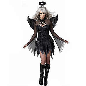 cheap Men's & Women's Halloween Costumes-Angel / Devil Dress Wings Masquerade Feather Samba Headdress Adults' Women's Cosplay Halloween Christmas Halloween Carnival Festival / Holiday Tulle Polyster Black Women's Carnival Costumes Patchwork