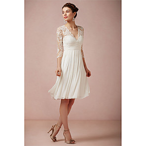 cheap Fitness Gear & Accessories-A-Line Wedding Dresses V Neck Knee Length Lace 3/4 Length Sleeve Beach Little White Dress Illusion Sleeve with 2020