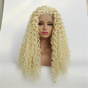 cheap Costume Wigs-Synthetic Lace Front Wig Jerry Curl Free Part Lace Front Wig Blonde Medium Length Light Blonde Synthetic Hair 8-26 inch Women's Synthetic Blonde