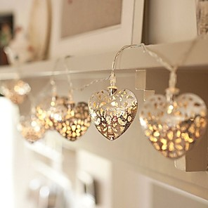 cheap LED String Lights-3m String Lights 20 LED Warm White Decorative Filigree Metal Heart Battery Operated Bedroom Indoor Fairy Lights