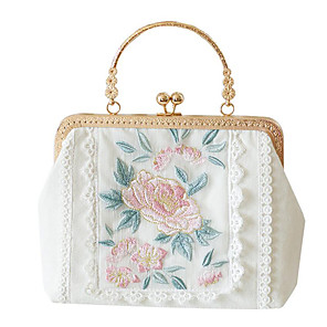 cheap Clutches & Evening Bags-Women's Embroidery / Lace Polyester Evening Bag Solid Color White / Fall & Winter