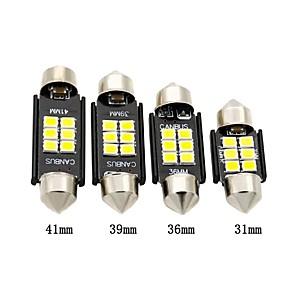 cheap Car Interior Lights-2pcs Car LED Festoon Light Bulb 31mm 36mm 39mm 41mm CANBUS C5W 6 SMD 3030 LED Dome Lamp White For Interior Light License Plate Light Side Marker Light