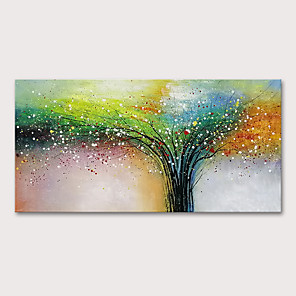 cheap Framed Arts-Oil Painting Hand Painted - Floral / Botanical Abstract Landscape Modern Rolled Canvas