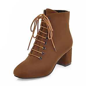 cheap Women's Boots-Women's Boots Sexy Boots Chunky Heel Square Toe PU(Polyurethane) Mid-Calf Boots Vintage / British Fall & Winter Brown / Black / Gold / Green / Party & Evening