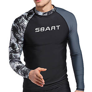 cheap Wetsuits, Diving Suits & Rash Guard Shirts-SBART Men's Rash Guard Spandex Sun Shirt Swim Shirt Breathable Quick Dry High Elasticity Long Sleeve Swimming Diving Surfing Patchwork Summer Spring, Fall, Winter, Summer / Stretchy / UPF50+