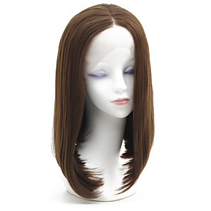 cheap Synthetic Lace Wigs-Synthetic Lace Front Wig Straight Lily Bob Lace Front Wig Short Ash Brown Synthetic Hair 12-16 inch Women's Heat Resistant Classic Women Brown / Glueless
