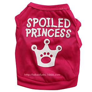 cheap Dog Clothes-Dogs Vest Dog Clothes Red Pink Costume Dalmatian Corgi Beagle Polyester Quotes & Sayings Tiaras & Crowns Sweet Style Simple Style XS S M L