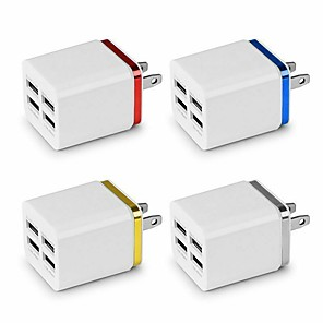 cheap AC Adapter & Power Cables-5.1A USB Power Adapter Wall Charger 4 Ports Travel Charger Cube Block