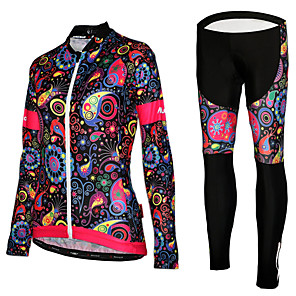 cheap Cycling Jersey & Shorts / Pants Sets-Women's Long Sleeve Cycling Jersey with Tights Black Green Purple Floral Botanical Bike Jersey Tights UV Resistant Quick Dry Reflective Strips Sports Mesh Lycra Floral Botanical Mountain Bike MTB