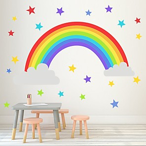 cheap Wall Stickers-Rainbow Star Wall Sticks Kindergarten Bedroom Living Room Children'S Room Self-Sticking Paper Wallpaper Decorative Wall Stickers - Plane Wall Stickers Still Life Kids Room / Nursery