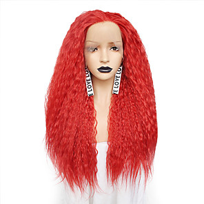 cheap Synthetic Lace Wigs-Synthetic Lace Front Wig Curly Free Part Lace Front Wig Pink Long Brown Pink Red Orange Synthetic Hair 26 inch Women's Odor Free Fashionable Design Adjustable Red Pink Brown / Heat Resistant
